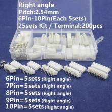 25 sets Kit in box 6p 7p 8p 9p 10 pin Right angle 2.54mm Pitch Terminal / Housing / Pin Header Connector Wire Connectors XH Kit