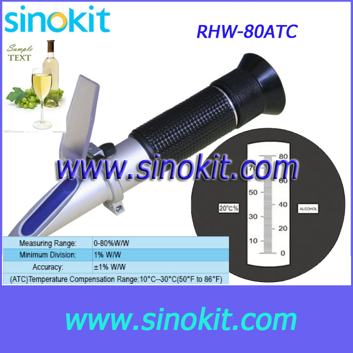 Free Shipping Wine  0-80%WW Hand Refractometer - RHW-80ATC<br><br>Aliexpress