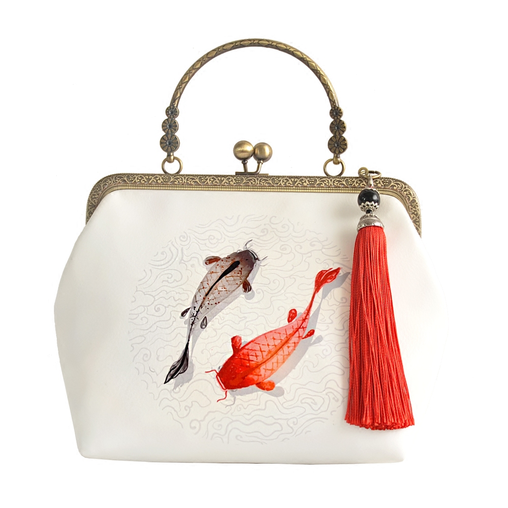 Original Chinese wind brocade carp handbags by cheongsam ancientry package inclined across a small package Mouth gold<br>