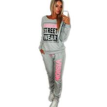 2017 New PiNK Vision Street Wear Print Women's Tracksuits O-Neck Suit Set Suits For Women