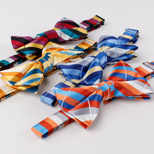 TieSet Colorful Polyester Silk Bow Tie Striped Bowtie Handmade New Design Bowknot Ties For Wedding Groom For Men T-89(China)