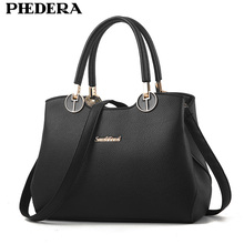PHEDERA Brand New Luxury Female Handbags Grace Ladies Tote Bag Fashion Women Leather Messenger Bags Black/Burgundy Purse 2017