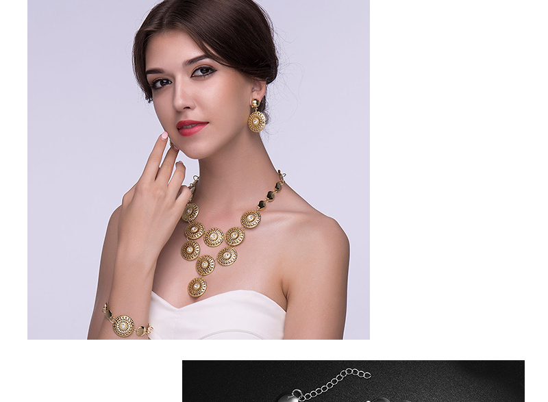 BTSETS African Jewelry Set Nigerian Wedding Jewelry Sets For Brides Silver Gold Color Round Ladies Fashion Jewelery Sets (3)