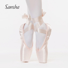 Sansha Ballet Pointe Shoes Satin Upper With Ribbon Girls Women's Pink Professional Ballet Shoes SP(China)