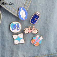 6pcs/set Bike Wishing bottle Riding Girl Shoes Origami Game Shoes Brooch Pins Button Pin Denim Jacket Pin Badge Gift Jewelry(China)