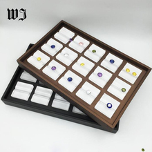 Leatherette Loose Diamond Display Case Stand Holder Gem Stones Show Storage Container Rectangle Presentation Tray Box Organizer(China)