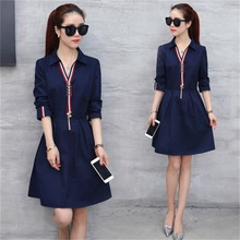 2017 spring and autumn new women's fashion long sleeves POLO collar high waist dress TB7187