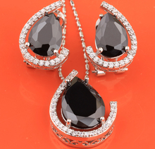 2017 Hot Sell Rushed Gracious Pear Black Onyx 925 Sterling Silver Overlay Jewelry Sets Earrings Pendants S8236(China)