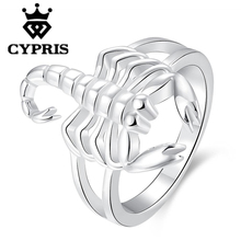 Cancer Scorpio Wholesale price  Silver plated new design finger ring for lady animal cool fancy women lady men factory price