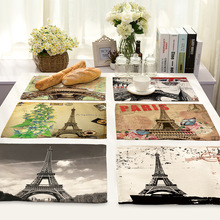 Paris Eiffel Tower Table Napkins for Wedding Party Linen Table Napkin Cloth Western Dinner Mat Home Textile Europe Decor