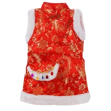 The children's Costume Dress Girls Dress cheongsam vest winter cotton padded gown with a small bag of Chinese New Year Phoenix
