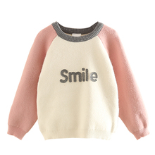 2-10Y Little Girls Pullover Sweater 2017 Fall New Children Girls Fall Clothing Kids Long Sleeve Knitted Sweater Baby Knitwear(China)