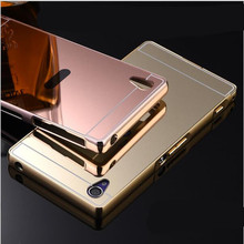 For Sony Z3 Compact Luxury Gold Mirror Metal Aluminum+ Acrylic Back Cover Case For Sony Xperia Z1 Z2 Z3 Z4 Shell Phone case