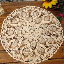 Vintage Round Tablecloth Cotton White Feather Hand Crochet Doilies Wedding Event Table Decor Doily Placemat Knit Table Cloth(China)