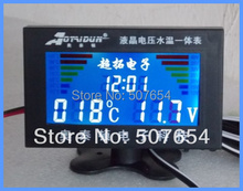 High quality Four in One (Voltage+ water temperature+ Time+ USB Charge) 3inch LCD digital universal car Gauge,meter