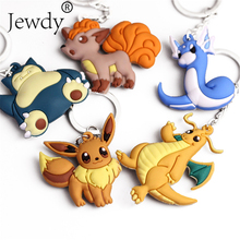 3D Anime Pokemon Go Key Ring Pikachu Keychain Pocket Monsters Key Holder Pendant Mini Charmander Squirtle Eevee Vulpix Figures(China)