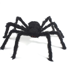 New Black Scare Spider Tricky Toy Imitated Stuffed Toys Haunted House Props Halloween Decoration Black Spider with Red Eyes TY(China)