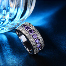 H:HYDE 1pc Pop Selling Silver Color Purple CZ Promise Rings For Women Wedding Jewelry For Girlfriend Valentine's Day Gift