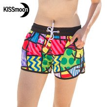 KISSyuer Quick-drying Scrawl grid Abstract Women summer beach print floral short floral swimwear women board shorts KBS1005
