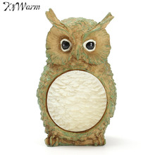 Kiwarm Cute Owl Solar Powered LED Light Garden Yard Decor Outdoor Lighting Landscape Statue Lamp For Home Wedding Party Lights
