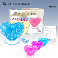 New DIY 3d crystal puzzle jigsaw heart 3 color model building learning & education kids toys for children brinquedos educativos(China)