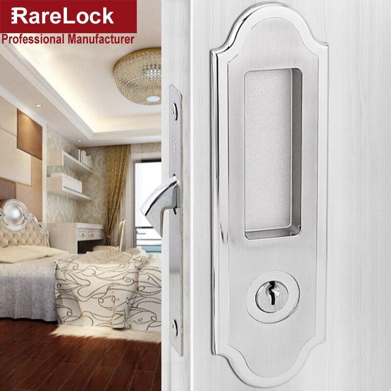 Rarelock Christmas Supplies Interior Sliding Door Lock Silver or Golden for Office Bathroom Accessory Door Hardware DIY c<br>