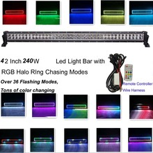 240w 42Inch Led Light Bar 12V 24V with RGB Halo Ring 300 Flashing Modes by RF Remote Controller Halo Ring Led Strobe Light Bar(China)