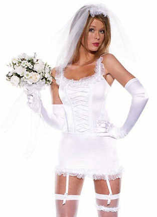 Bride Fancy Dress Costume Women 6 Piece Sexy Blushing Bridal