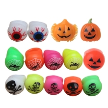 LED Light Up Flashing Soft Eyeball Pumpkin Jelly Finger Ring Glow Light Halloween Toy Gift Party