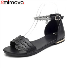 Smirnova new arrival hot sale genuine leather women sandals solid color fashion leisure flat sandals black white summer shoes(China)