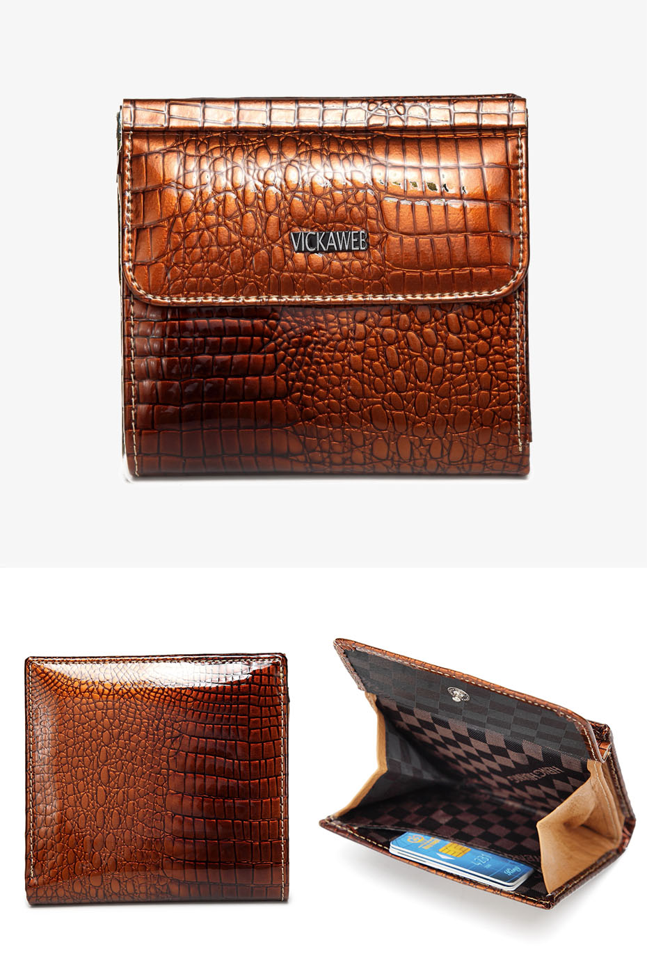 VICKAWEB Mini Wallet Women Genuine Leather Wallets Fashion Alligator Hasp Short Wallet Female Small Woman Wallets And Purses-AE209-019