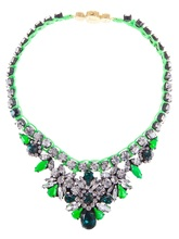 2014 shourouk spring hot-selling neon color rhinestone gem knitted necklace colorful crystal gem shourouk statement necklace