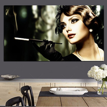 Audrey Hepburn Painting HD Print Girl Smokes Cigarette Woman on Canvas Pop Art Poster Wall Picture for Living Room Cuadros Decor(China)