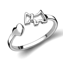 Valentine Day's gift Hot Sell High Quality Silver Color Horse Open Rings Beautiful Lovely Hollow Dog Rings For Women