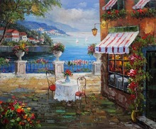 Landscape Oil painting Canvas Art Deocrative painting Cafe Italy High quality hand painted Free shipping(China)