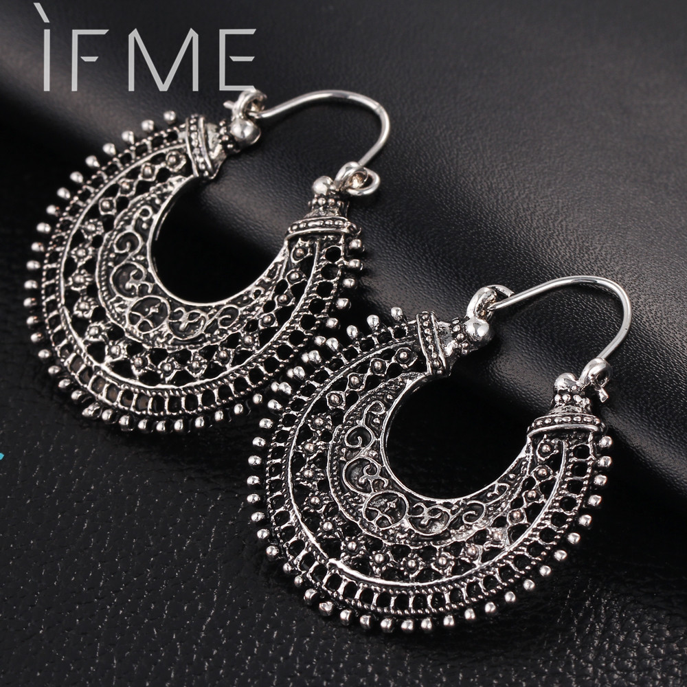 IF ME New Vintage Silver Color Earrings Women Style Accessories Dangle Earrings Mujer Jewelry Retro Aros Long Love Brinco