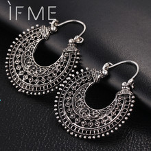 IF ME New Vintage Silver Color Earrings For Women Style Accessories Dangle Earrings Mujer Jewelry Retro Aros Long Love Brinco(China)