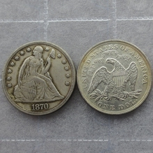 1870 Seated Liberty Silver Dollars One Dollar Coins Retail(China)