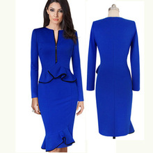 Buy Business Female Blue Sexy Pencil Dress Elegant Lady Sheath Long Sleeve Dresses Women Clothing Bodycon Evening Party Dress for $23.24 in AliExpress store