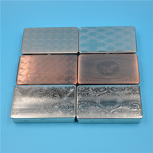 1 X Metal Tobacco Box Pocket Size [95mm*57] Cigarette Case With 70MM Paper Holder Inside In Silver/Copper Color