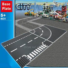 Road Plate Straight Crossroad Curve T-Junction Building Blocks Parts Bricks Base Plate Models City Street Baseplate Toys(China)