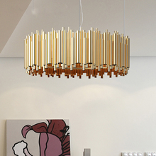 Nordic postmodern simple creative aluminum bar chandelier American bedroom restaurant living room villa aluminum tube project ch
