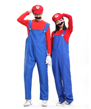 Halloween Costumes Super Mario Luigi Brothers Plumber Costume Jumpsuit Fancy Cosplay Clothing for Adult Women Men cosplay(China)