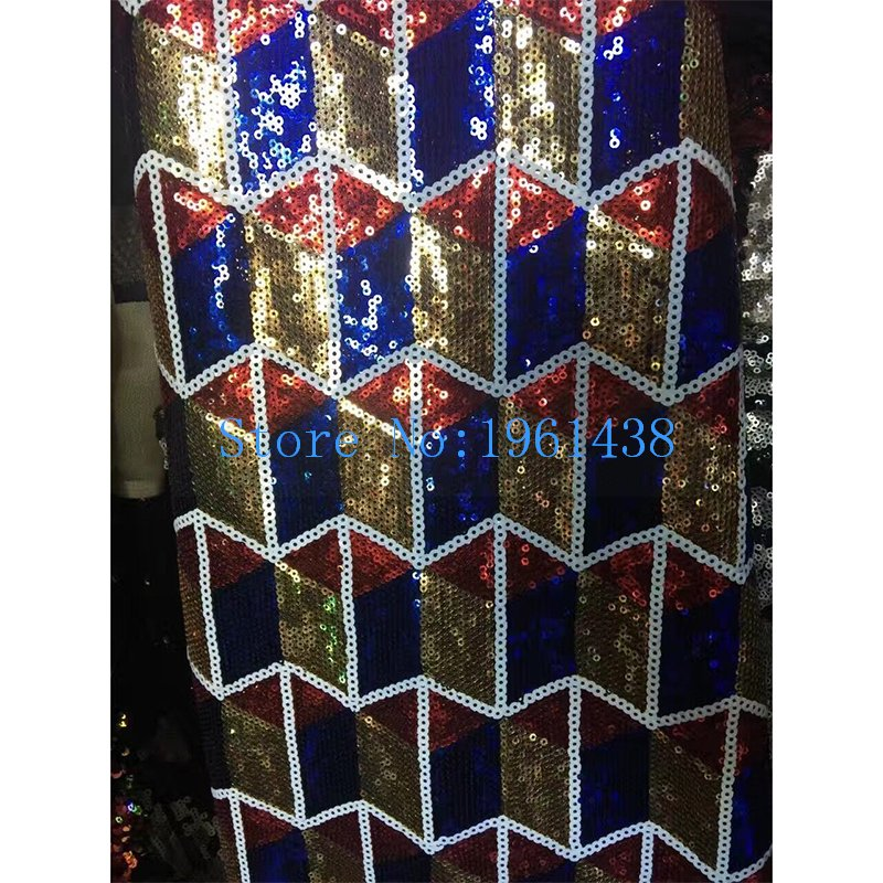 2017 latest Fashion African Lace Fabric High-end Sequins / French Gold Red Royal blue Sequins Net Lace wedding Dress