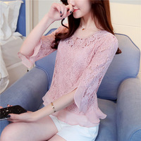 new-fashion-women-girls-summer-Lace-chiffon-Ruffles-Half-Petal-Sleeve-O-Neck-pink-blouse-female.jpg_200x200