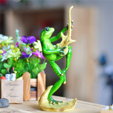 Creative Frog Music Band Bass Player Figurine Resin Art and Craft Novelty Ornament Accessories for Souvenir Gift and Room Decor(China)
