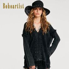 Bohoartist Women Loose Sweater Winter Patchwork Tassel Up Black Casual V Neck Pullover Ladies Europe Bohemia Style Sweaters News(China)