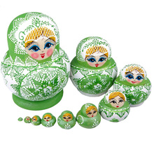 10pcs/set New Baby Toy Nesting Dolls Wooden Matryoshka Russian Dolls Hand Painted Birthday Gifts @Z393