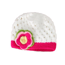 Flower Baby Girl Cap Handmade Crochet Newborn Photo Props Winter Knit Baby Hat for 0-3 Month(China)