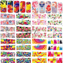 Mixed 48 Designs Set Watermark Nail Sticker Flowers Animal Cartoon Nail Art Water Decal Stickers DIY Full Tips Manicure BN73-120